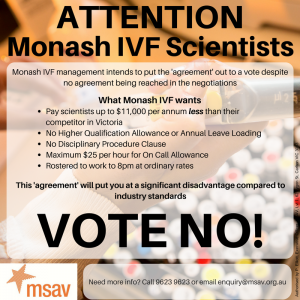 Monash IVF EBA-Vote No